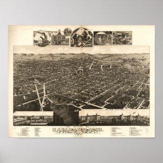 Kalamazoo Michigan 1883 Antique Panoramic Map Poster