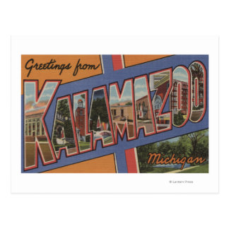 Kalamazoo, Michigan - Large Letter Scenes Postcard
