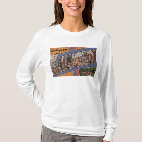 Kalamazoo, Michigan - Large Letter Scenes T-Shirt