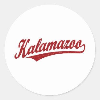 Kalamazoo script logo in red distressed classic round sticker