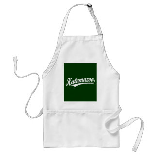 Kalamazoo script logo in white distressed adult apron