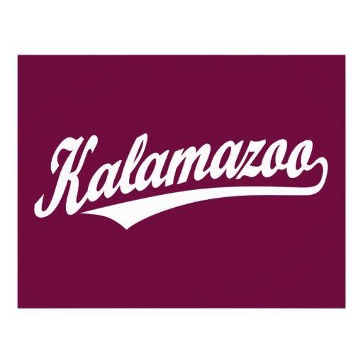 Kalamazoo script logo in white full color flyer