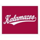 Kalamazoo script logo in white invites