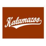 Kalamazoo script logo in white postcard