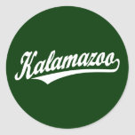 Kalamazoo script logo in white sticker