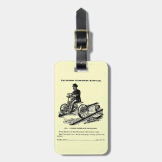 KALAMAZOO Velocipede Railroad Hand Car 1887 Travel Bag Tags
