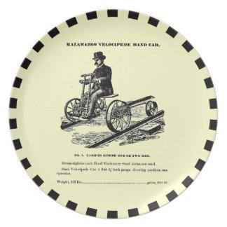 KALAMAZOO Velocipede Railroad Hand Car 1887 Party Plates