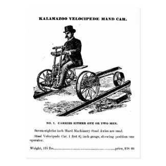 KALAMAZOO Velocipede Railroad Hand Car 1887 Postcard
