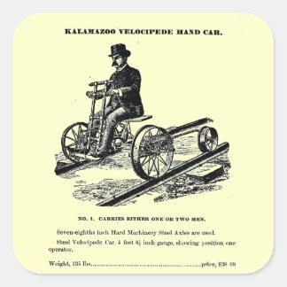 KALAMAZOO Velocipede Railroad Hand Car 1887 Square Sticker