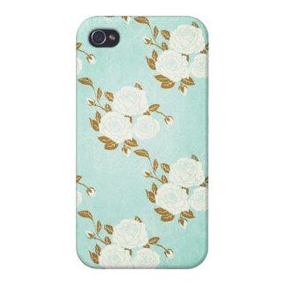Kalani: Blue Rose Damask Print iPhone 4 Case