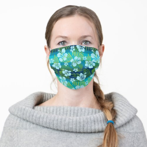 Kalani Tie Dye Blend Tropical Hibiscus _ Teal Cloth Face Mask