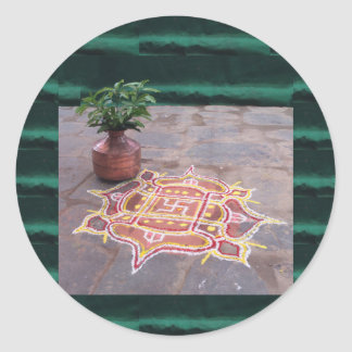 Kalas Vase swastika rangoli indian wedding Symbols Classic Round Sticker