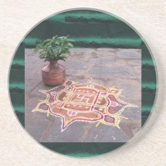 Kalas Vase swastika rangoli indian wedding Symbols Coaster