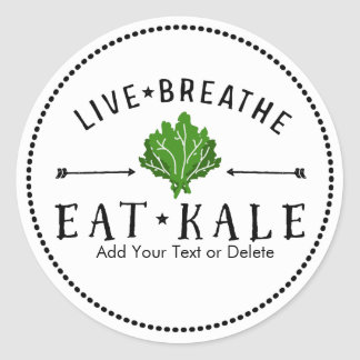 Kale Love Live Breathe Eat Kale Custom Classic Round Sticker