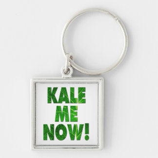 Kale Me Now Silver-Colored Square Keychain