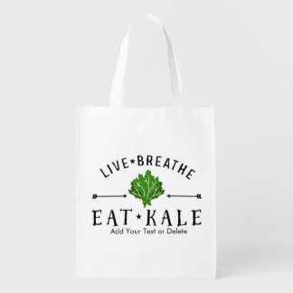 Kale Vegetarian Live Breathe Eat Kale Custom Grocery Bag