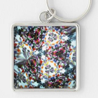 Kaleidescope Bejeweled 42 Llavero Cuadrado Plateado