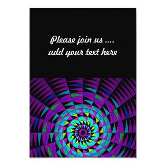 Kaleidescope Black Purple Multicolored Radial Art Card
