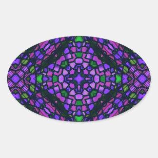 kaleido art stained glass blue oval sticker