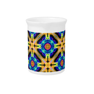 kaleido art yellow blue beverage pitcher
