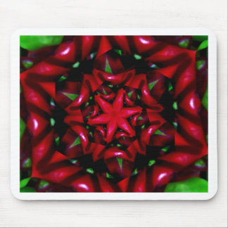 kaleido  flower green and red design mouse pad