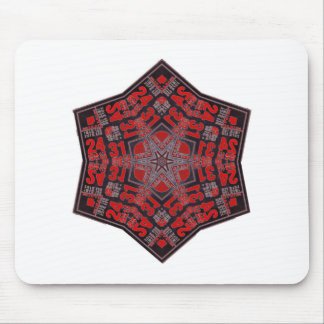 kaleido tribal design black and red mouse pad