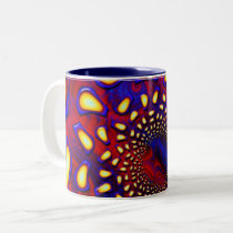 KaleidoBerries Psychedelic Fused Glass Fractal Two-Tone Coffee Mug