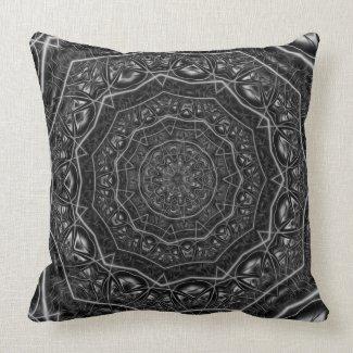 Kaleidoscope 5 (black & white) Pillows mojo_throwpillow