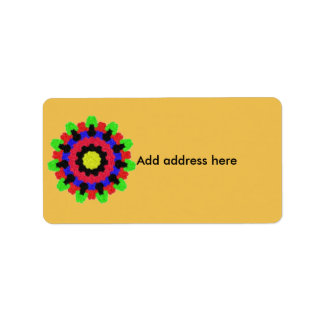 Kaleidoscope abstract colorful pattern label