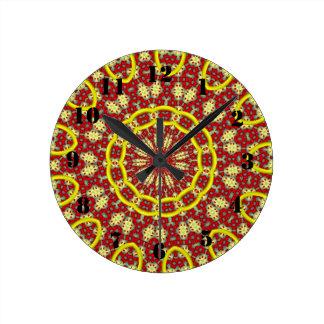 Kaleidoscope abstract pattern round clock
