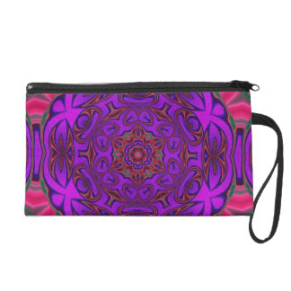 Kaleidoscope Abstract with Purple, Pink and Green Wristlet Clutch