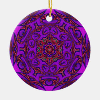 Kaleidoscope Abstract with Purple, Pink and Green Ceramic Ornament