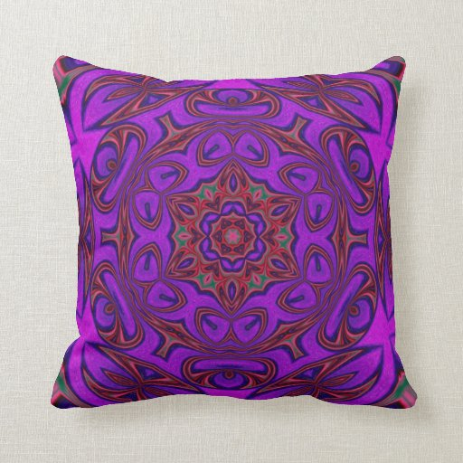 Pink Purple Decorative Pillows : Kaleidoscope Abstract with Purple, Pink and Green Throw Pillows Zazzle