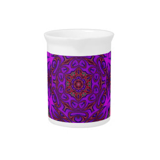 Kaleidoscope Abstract with Purple, Pink and Green Beverage Pitcher