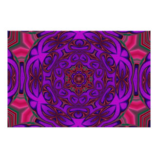 Kaleidoscope Abstract with Purple, Pink and Green Posters