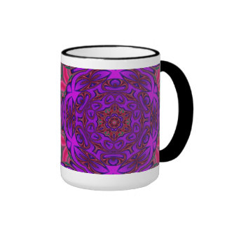 Kaleidoscope Abstract with Purple, Pink and Green Ringer Mug