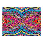 Kaleidoscope Aztec inspired pattern Postcard