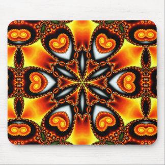 Kaleidoscope Black Gold Orange White Yellow star Mouse Pad