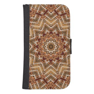 Kaleidoscope Brown Star Galaxy S4 Wallet Case