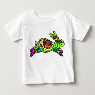 Kaleidoscope Bunny  Lime Green Baby T-Shirt