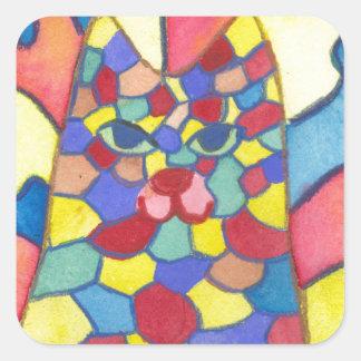 Kaleidoscope cat square sticker