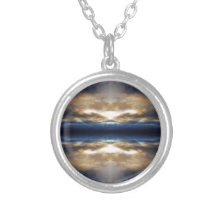 Kaleidoscope clouds at sunset round pendant necklace