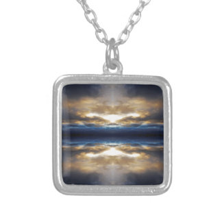 Kaleidoscope clouds at sunset square pendant necklace