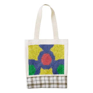 Kaleidoscope colorful furry zazzle HEART tote bag