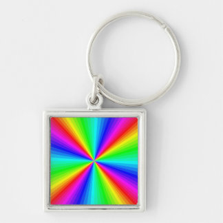 kaleidoscope-colors Silver-Colored square keychain