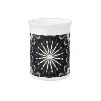 Kaleidoscope Design Black Gray Blue White Art Drink Pitcher