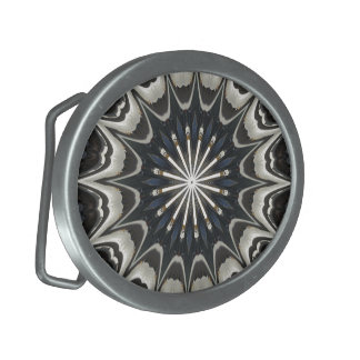 Kaleidoscope Design Black Gray Blue White Art Oval Belt Buckle