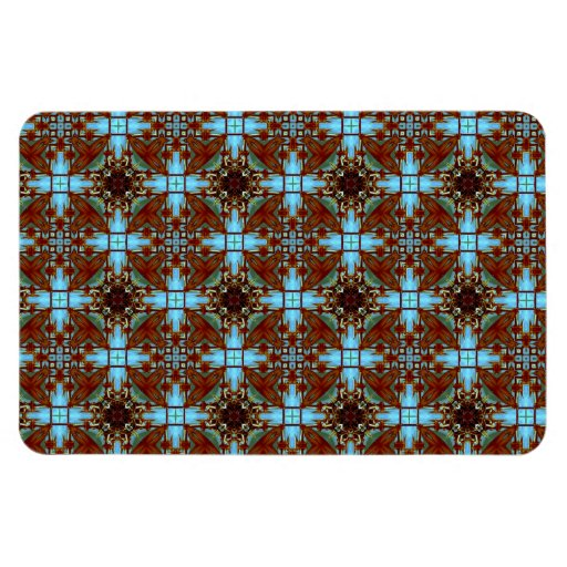 Kaleidoscope Design, Blue, Brown Rectangular Photo Magnet