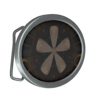 Kaleidoscope Design Dark Brown Rustic Art Belt Buckle
