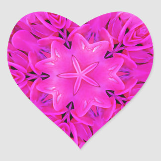 Kaleidoscope Design Hot Pink Floral Art Heart Sticker